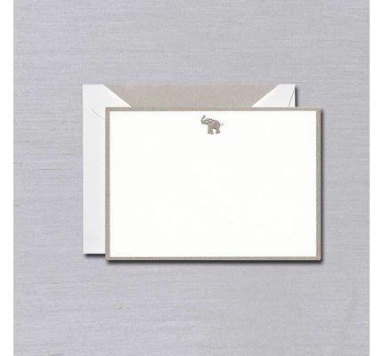 Crane Crane Pearl White Elephant Silver Bordered Card