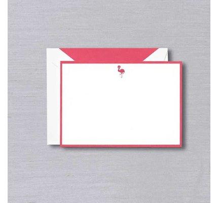 Crane Crane Pearl White Flamingo Bordered Card