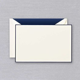 Crane Crane Ecru Navy Hand Bordered Card
