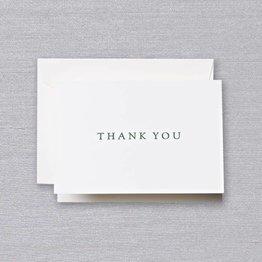 Crane Crane Pearl White Hunter Green Letterpress Thank You Note