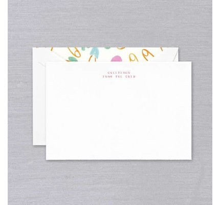 Crane Crane Pearl White Greetings From The Crib Card