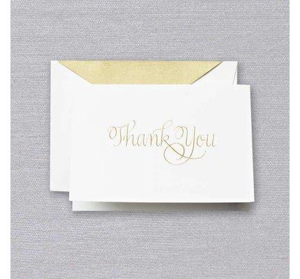 Crane Crane Pearl White Calligraphic Thank You Note