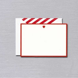 Crane Crane Pearl White Red Heart Bordered Card