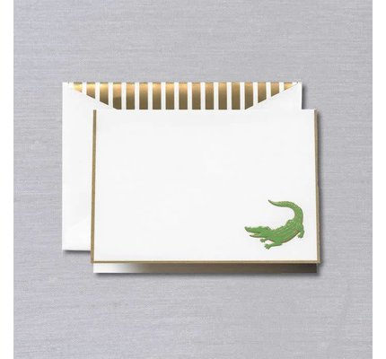 Crane Crane Pearl White Gold Bordered Alligator Note (Discontinued)