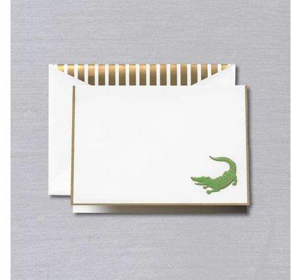 Crane Crane Pearl White Gold Bordered Alligator Note