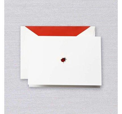 Crane Crane Pearl White Red Ladybug Note