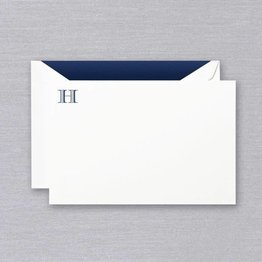 Crane Crane Pearl White Navy Initial H Card