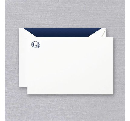 Crane Crane Pearl White Navy Initial Q Card (Discontinued)