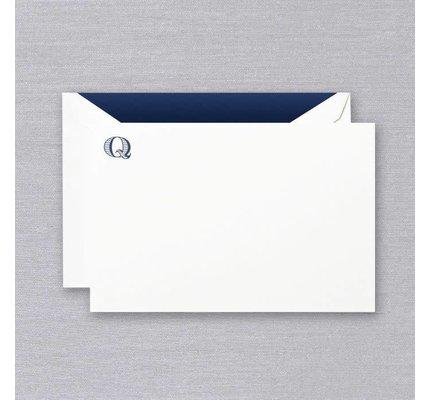 Crane Crane Pearl White Navy Initial Q Card