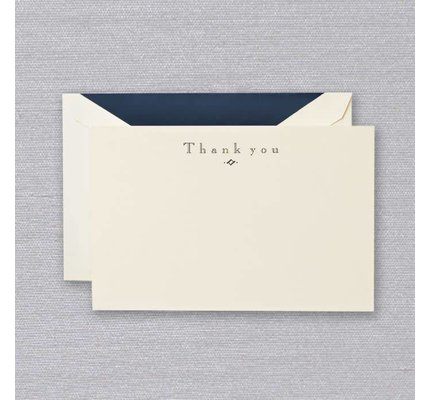 Crane Crane Ecru Navy Thank You Card