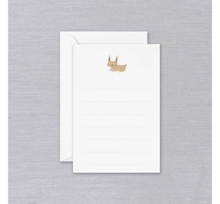 Crane Crane Pearl White Lined Bunny Correspondence Card (Discontinued)