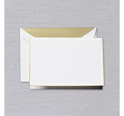 Crane Crane Pearl White Gold Bordered Note