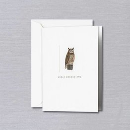 Crane Crane Pearl White Great Horned Owl Note
