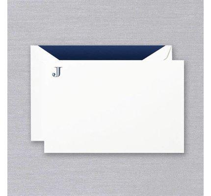 Crane Crane Pearl White Navy Initial J Card