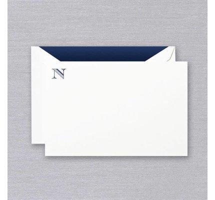 Crane Crane Pearl White Navy Initial N Card