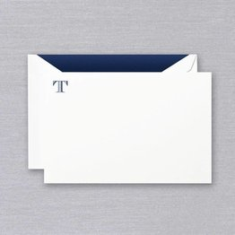 Crane Crane Pearl White Navy Initial T Card (Discontinued)