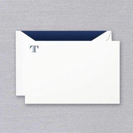 Crane Crane Pearl White Navy Initial T Card