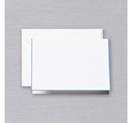 Crane Crane Pearl White Newport Blue Bordered Note