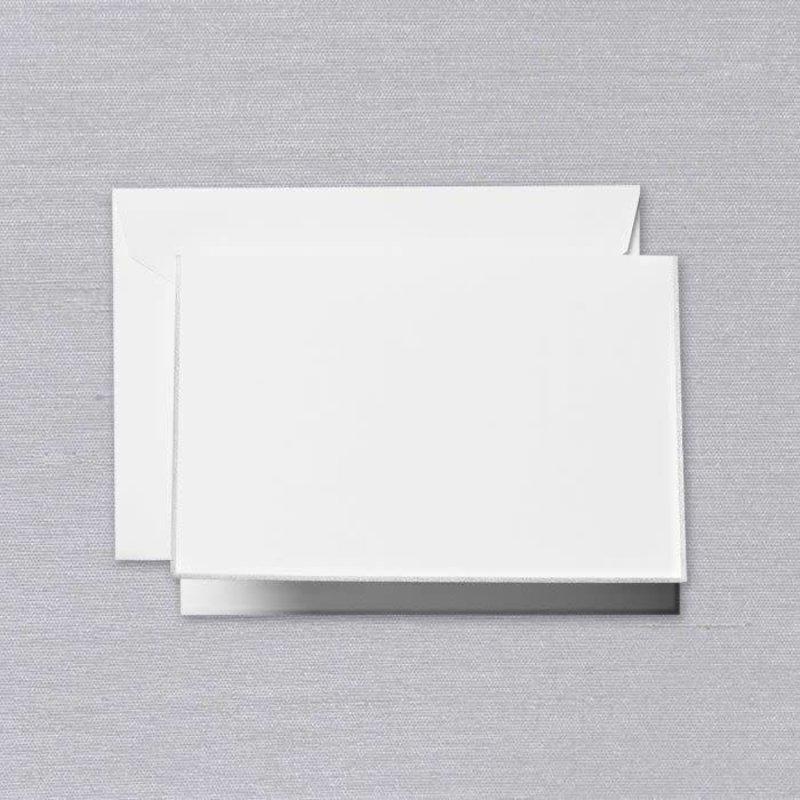 Crane Crane Pearl White Platinum Bordered Note
