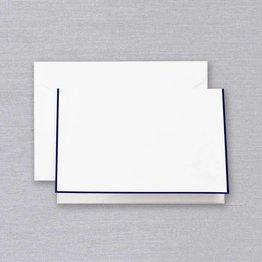 Crane Crane Pearl White Regent Blue Bordered Note