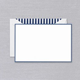 Crane Crane Pearl White Regent Blue Bordered Card