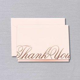 Crane Crane Pink Copper Script Thank You Note