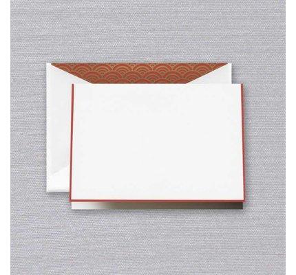 Crane Crane Pearl White Red Bordered Note