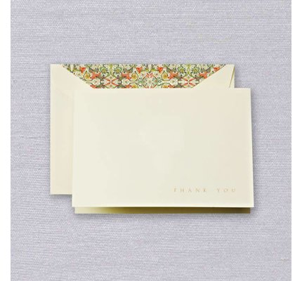 Crane Crane Ecru Red Florentine Thank You Note
