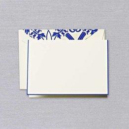 Crane Crane Ecru Regent Blue Bordered Note
