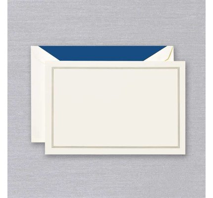 Crane Crane Ecru Regent Blue Triple Hairline Card