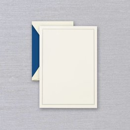 Crane Crane Ecru Regent Blue Triple Hairline Half Sheet