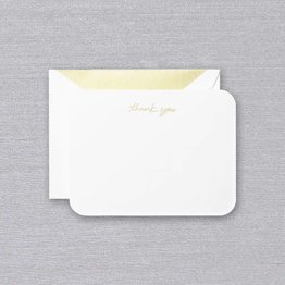 Crane Crane Pearl White Round Corners Gold Script Thank You Card