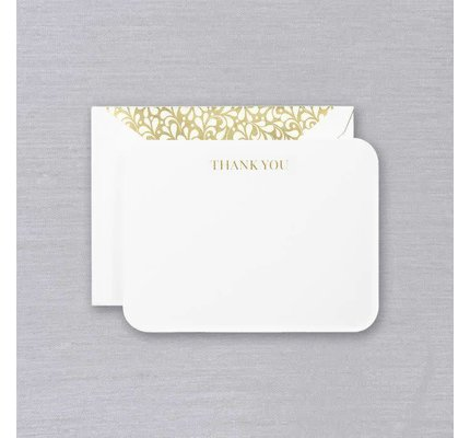 Crane Crane Pearl White Rounded Corners Gold Thank You Card
