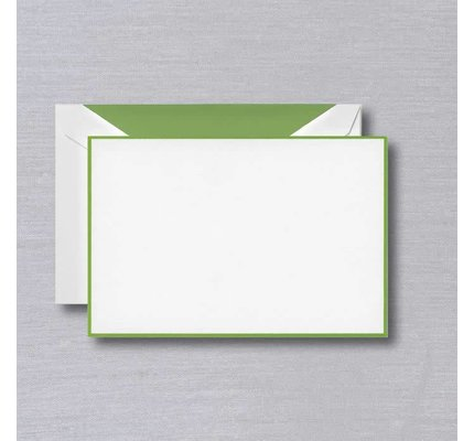 Crane Crane Pearl White Spring Green Bordered Card