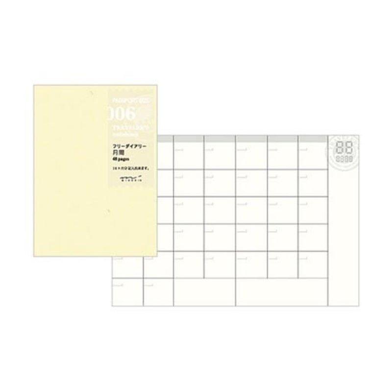 Traveler's Traveler's Notebook #006 Passport Size Free Diary Monthly