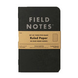 Field Notes Field Notes Pitch Black Ruled Memo Book 3-Pack