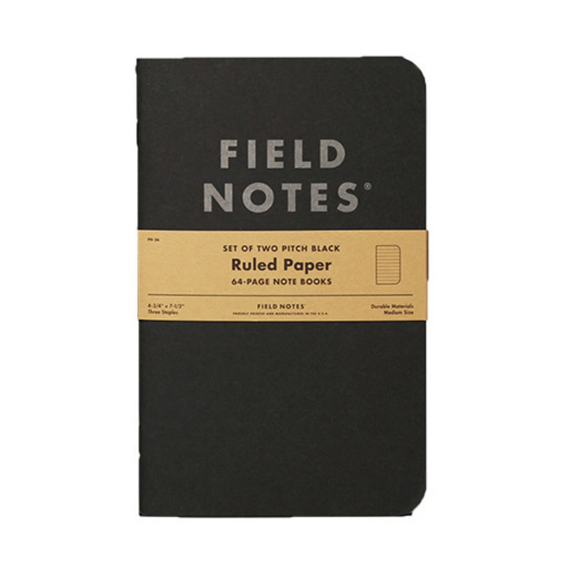 Field Notes Pitch Black Notebook Ruled 2-Pack