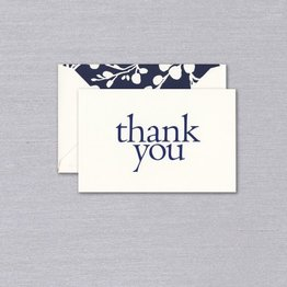 Vera Wang Indigo Blossoms Engraved Thank You Note