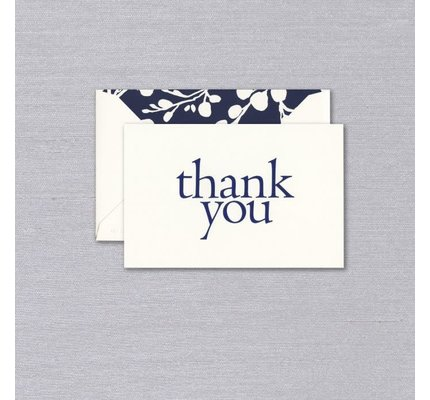 Vera Wang Vera Wang Indigo Blossoms Engraved Thank You Note