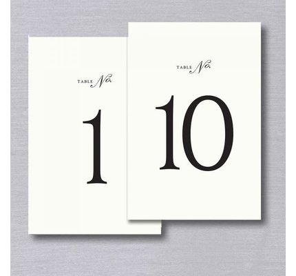 Vera Wang Table Numbers 1-10