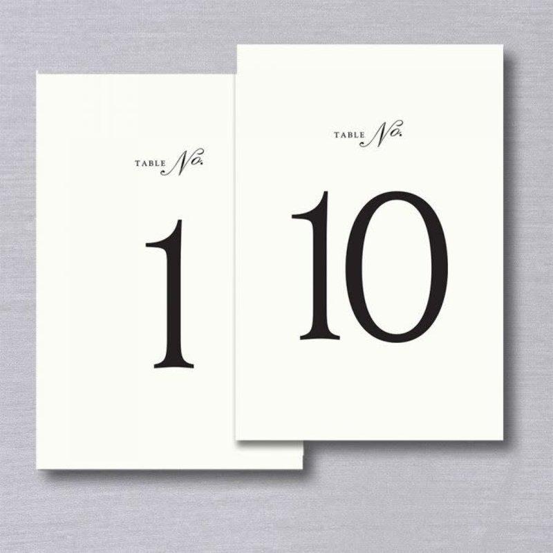 Vera Wang Table Numbers 1-10