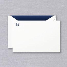 Crane Crane Pearl White Navy Initial R Card