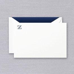 Crane Crane Pearl White Navy Initial Z Card