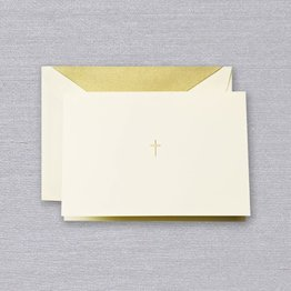 Crane Crane Ecru Gold Cross Note