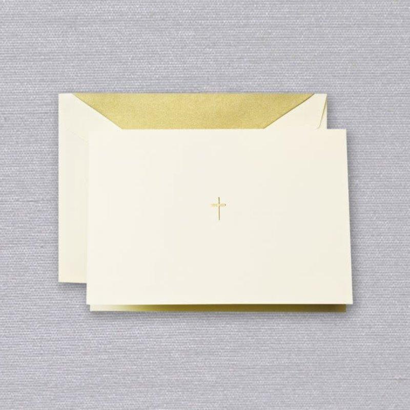 Crane Crane Ecru Gold Cross Note