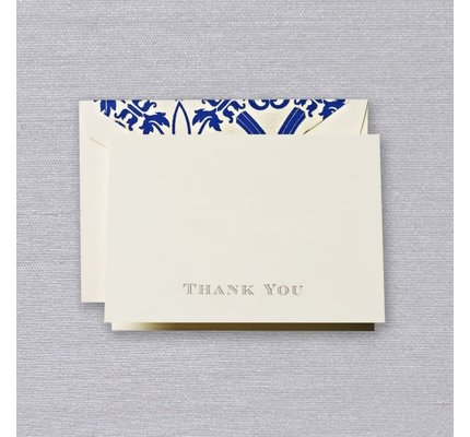 Crane Crane Ecru Regent Blue Thank You Note