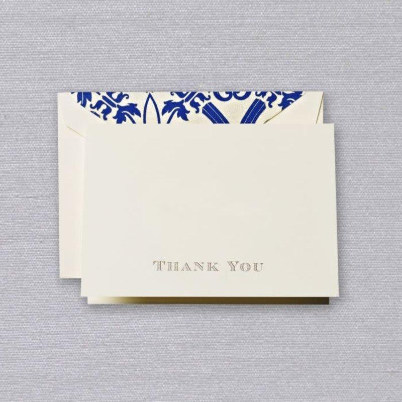 Crane Crane Ecru Regent Blue Thank You Note