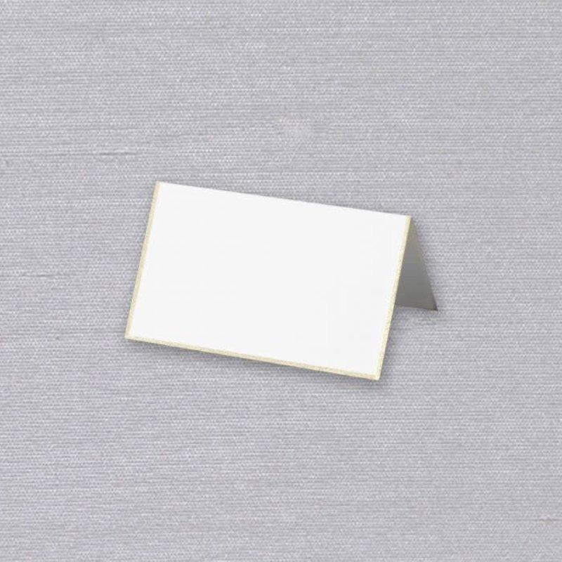 Crane Crane Single Placecard Pearl White with Gold Border