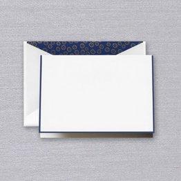 Crane Crane Pearl White Regent Blue Bordered Note (Discontinued)