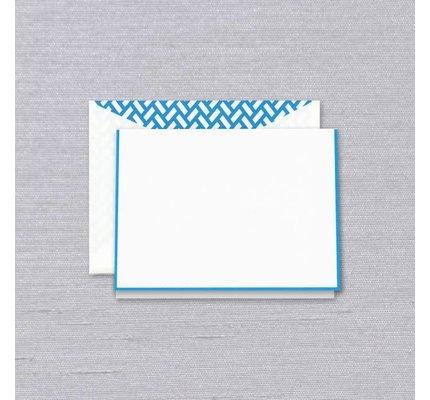 Crane Crane Pearl White Neon Blue Bordered Note